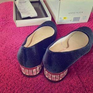 Anne Klein black velvet shoes with crystal heels